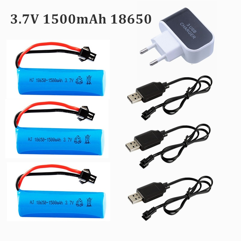 3.7V 1500mAh 18650 Li-ion Battery + charger for RC Car Q70 Q85 helicopter Airplanes car Boat Gun Toy 18650 3.7v battery SM plug