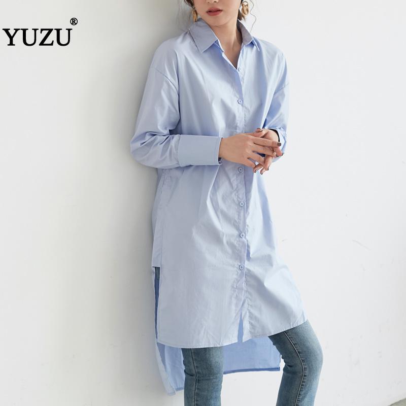 Blusa larga otoño 2020 manga larga blanco azul Oversize suelta Maxi Camisa de algodón estilo de calle parte delantera corta espalda larga diseño de dobladillo