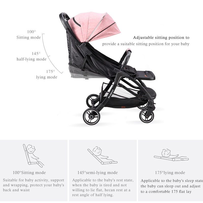 DEAREST 2021 New Upgrade Baby Stroller Wagon Portable Folding Baby Pushchair Lightweight Pram Baby Carriage Baby Car enlarge