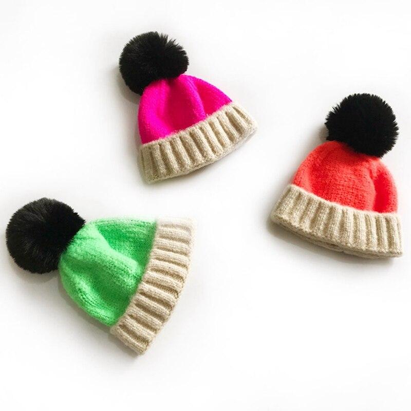 Children Autumn Winter Fashion knitted Wool Hat Tide Cute Kids Pullover Melon Skin Caps Baby Girl&Boy Warm Headwear