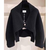 Winter 2021 Autumn Women\'s Cardigan Cashmere Black Cape Short Sweater Single Button Knitted Jacket Crop-tops Coat