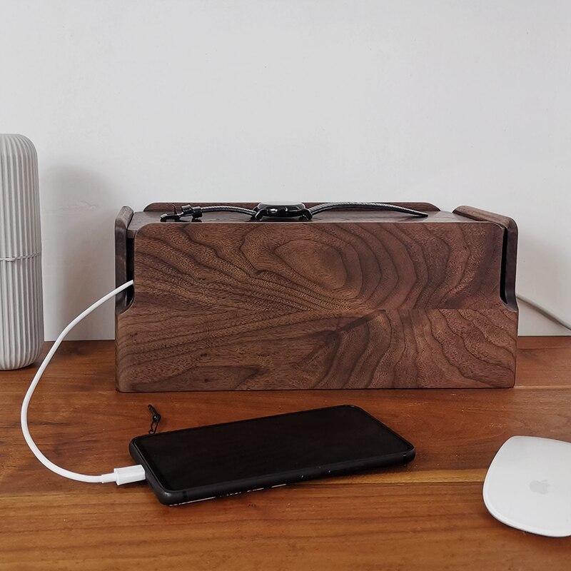الكلاسيكية الجوز الأسود صندوق تخزين مقبس الطاقة الخشبية الحفاظ على سطح المكتب مرتبة كابل بيانات منظم خشبي