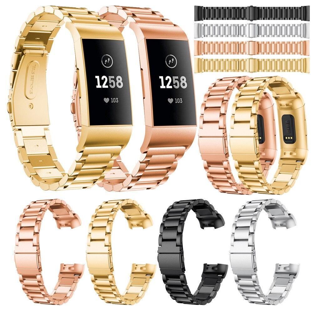 Bracelet de remplacement en acier inoxydable Bracelet de montre intelligente pour Fitbit Charge 3 accessoires de Support de SmartWatch à dégagement rapide