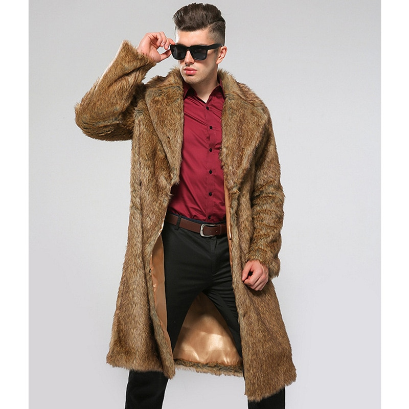 Autumn and winter new men's fur coat imitation mink fur coat European and American long winter clothes fatten up to keep warm