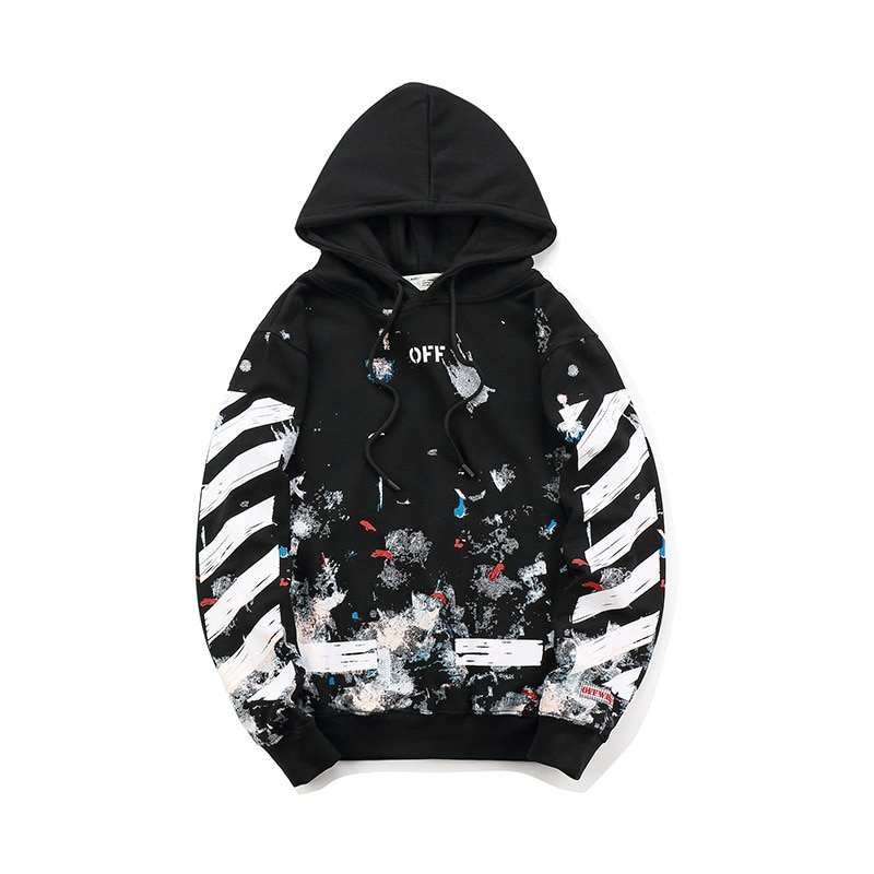 19SS OFF-WHITE OW  Fireworks Arrow Couple WHITE Men/Women streetwear Fashion pure Cotton SportsCasual hoodie coat