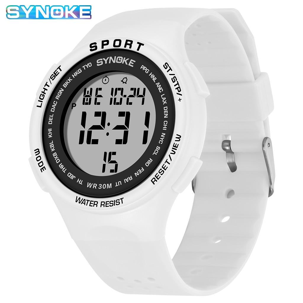 SYNOKE Women Watches Ultralight Large Dial Sport Watch LED 30M Waterproof Students Wristwatch Electr