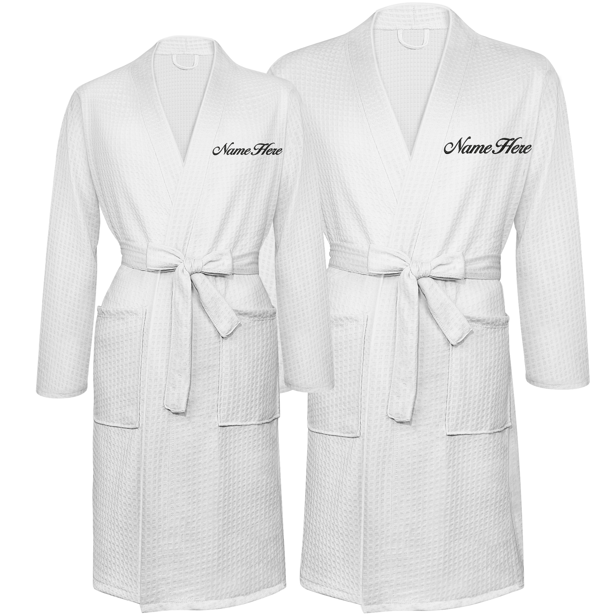 Custom Robes Monogrammed Bathrobes Set 2Pcs Personalized Embroidered Waffle Robes with Names for Couples