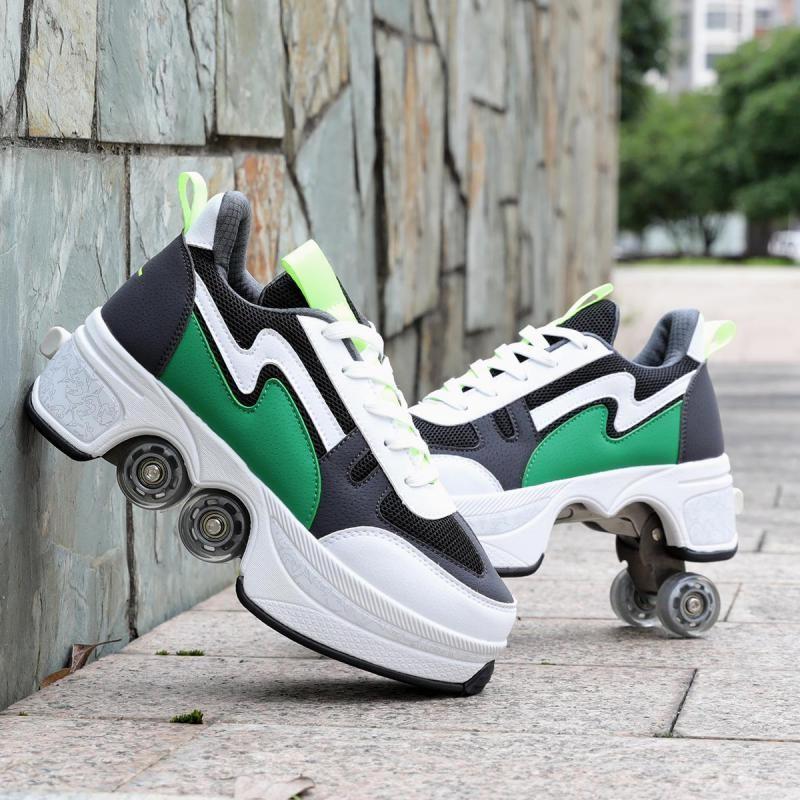 Casual Sneakers Walk+skates Deform Wheel Skates For Adult Men Women Unisex Couple Childred Runaway Skates Four-wheeled