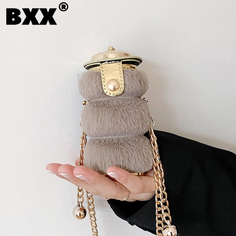 [BXX] Woman New Causal Plush Bag Cute For Girls Chains All-match Mini Crossbody Shoulder Bag Fashion Tide Autumn 2021 GF0860