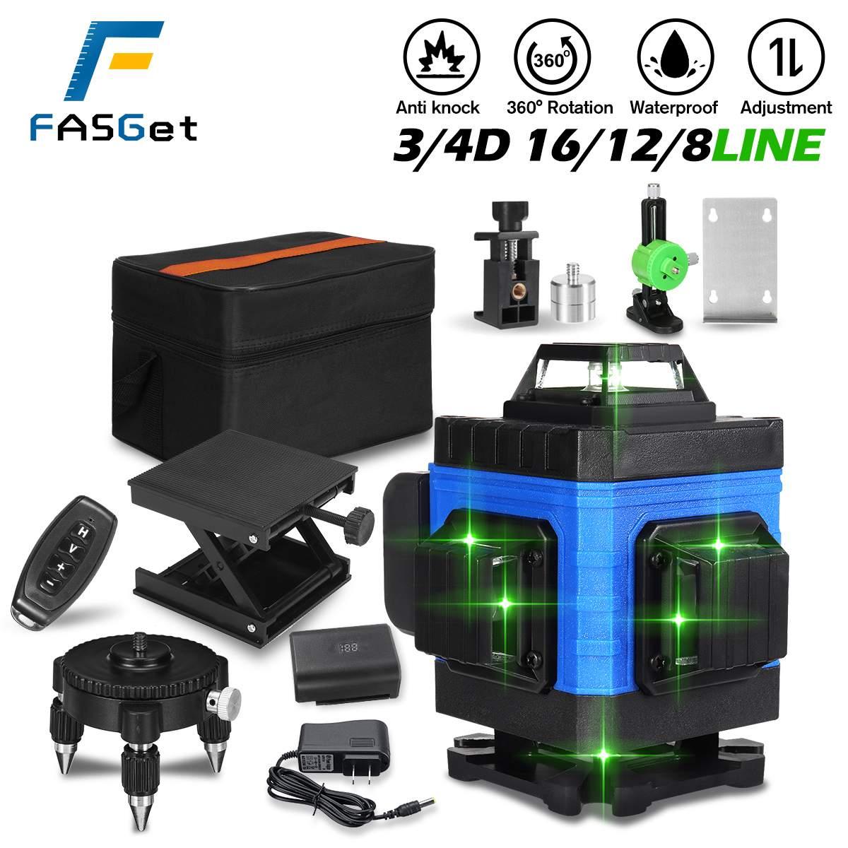 FASGet 8/12/16 خطوط الضوء الأخضر ثلاثية الأبعاد 4D السيارات الذاتي التسوية مستويات الليزر 360 تعديل أفقي سوبر قوية أداة الليزر الأخضر