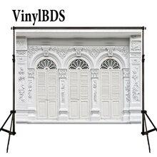 VinylBDS décors 5x7ft blanc bois porte toile de fond Vintage en plein air mariage arrière-plan rétro Texture mur Photo pour Studio