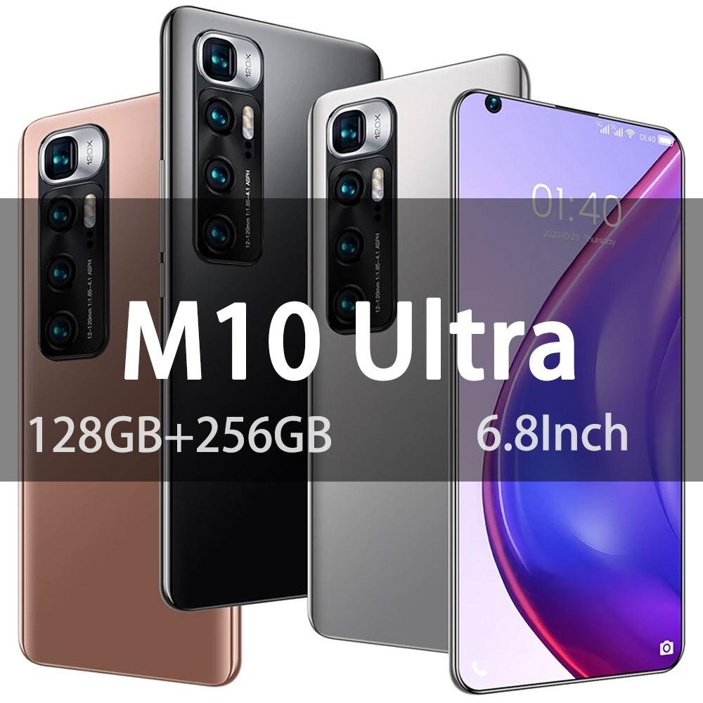 هاتف محمول جديد M10 Ultra 6.8Inch 128GB + 256GB 6000mAh Andriod 10 بشريحتين بشاشة كاملة هاتف ذكي مع نظام تحديد المواقع الإصدار العالمي
