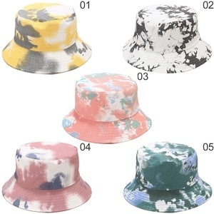 Double-sided Wearing Cap Visor Bucket Hat Men And Women Street Trend Hat Candy Color Tie-dyed Ink Painting Pattern Fisherman Hat
