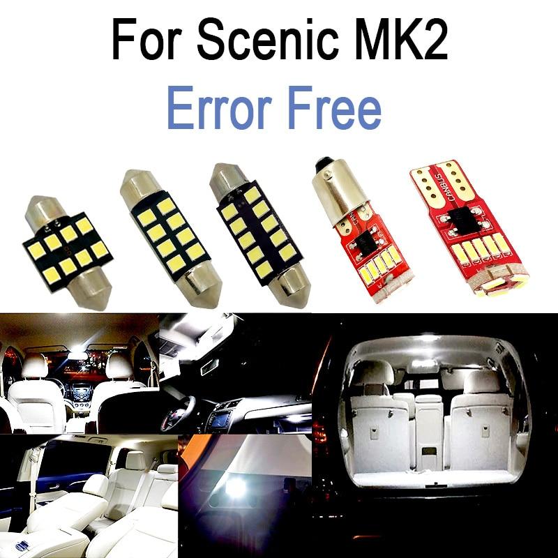 16pc x 100% carro livre de erros lâmpadas led interior leitura tronco luz kit para renault scenic ii 2 mk2 (2004-2009)