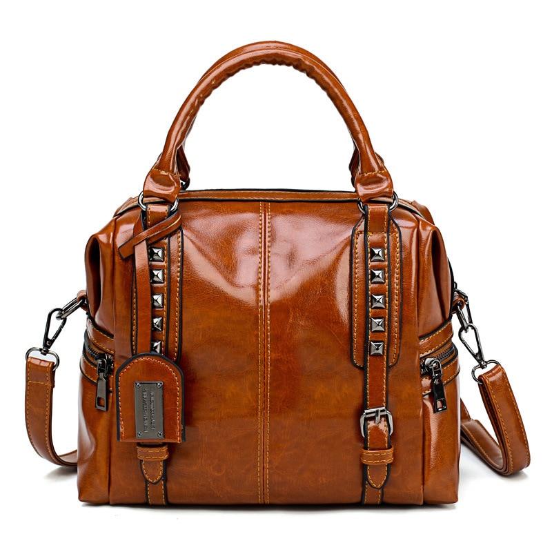 2021 New  Versatile Ladys Handbag Fashionable One Shoulder Straddle Bag Retro Oil Wax Commuting Large Capacity Travel