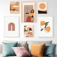 Affiche imprimee de style boheme pour fille  ligne geometrique  Art mural Vintage  peinture sur toile  images murales a la mode  decoration de maison