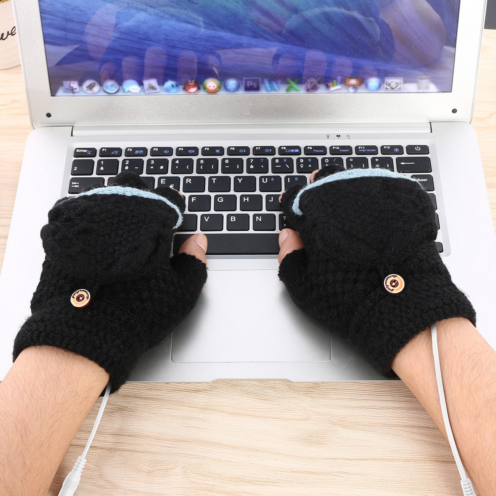 Guantes de invierno con calefacción por USB, Unisex, lavables, antideslizantes, calentador de...