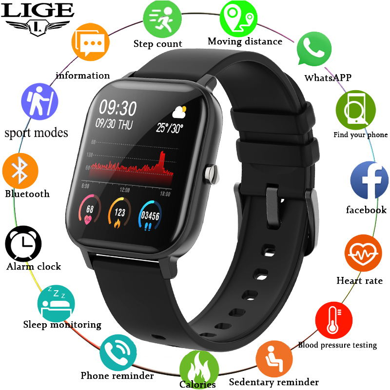 LIGE P8 Smart Watch Men Women smartwatch Sports Fitness Tracker IPX7 Waterproof LED Full Touch Scree