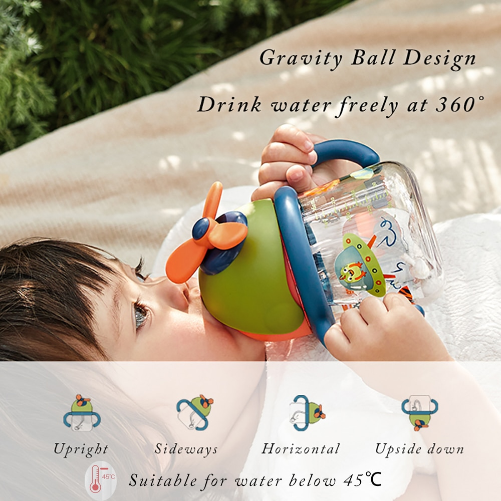Tritan Baby Sippy Cup Leak-proof Handle  Cold Water 360 Drinking Bottle Outdoor Kids Rotating Windmill Learning Cup