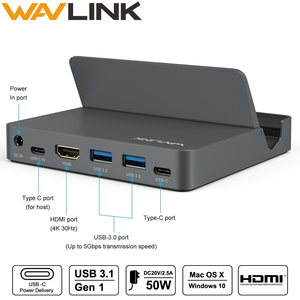 Wavlink Aluminum USB Docking Station USB 3.1 Gen 2 Type C Display with Power Delivery 4K@30Hz 2K@60Hz HDMI For phone laptop