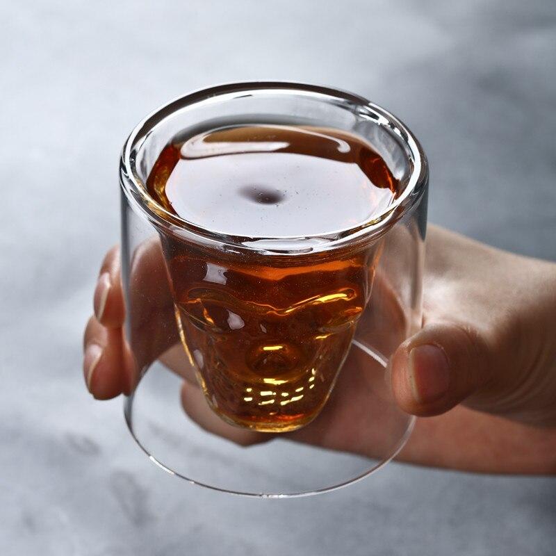 Taza de café de cristal transparente de doble capa de vaso de cristal Anti-escaldado con cabeza de calavera para el hogar... whisky.