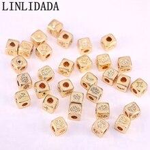 Bracelet européen en zircone cubique   20 pièces, bijoux à breloque CZ, Micro pavé, motif carré mignon, perles despacement, résultats