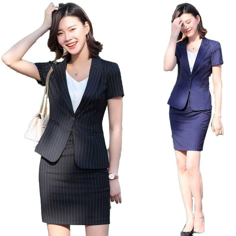 Summer Female Femal Skirt Suit Set for Women Business Suits Office Ladies Black Blazer and Jacket Sets Work Wear Uniform Styles