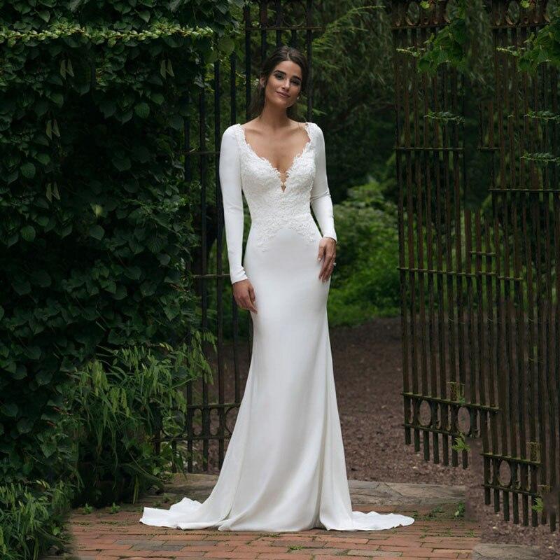 V pescoço até o chão manga longa sereia vestido de casamento 2020 ver através ilusão voltar branco vestidos de noiva com apliques de renda