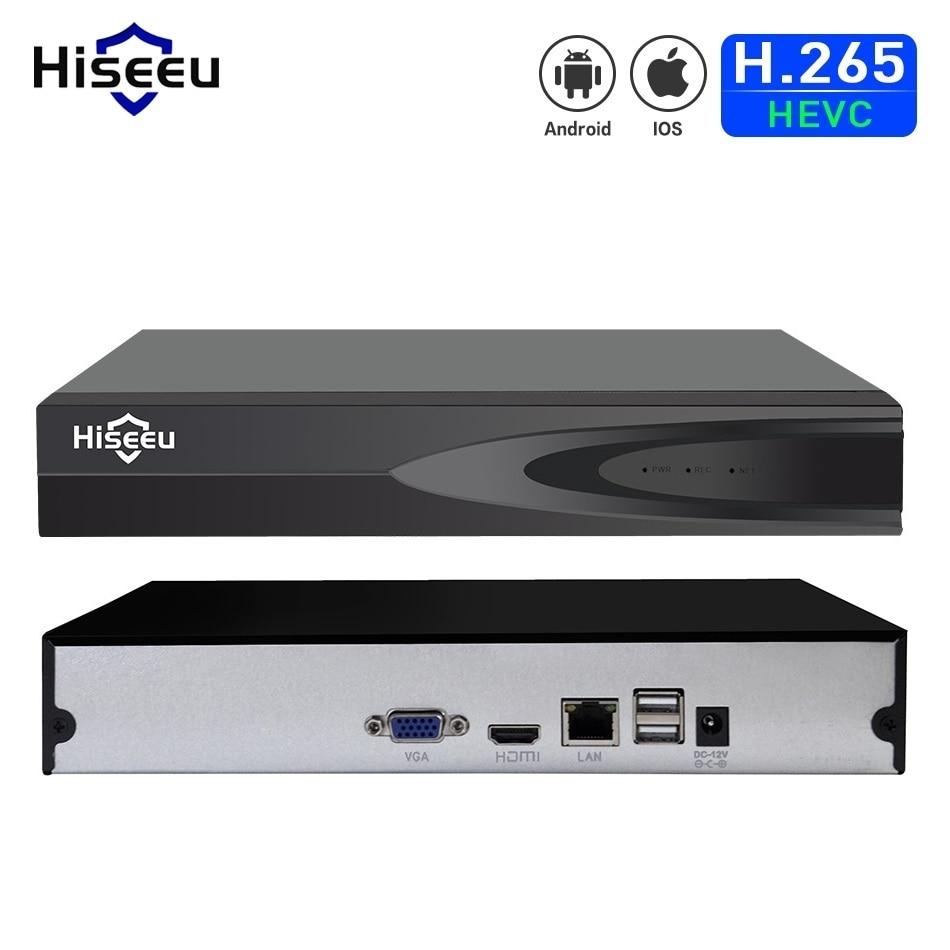 Hiseeu H.265 فيديو مراقبة NVR مسجل 8CH 16CH 5MP 4MP 2MP إخراج الحركة كشف مسجل للكاميرا IP حافظة معدنية