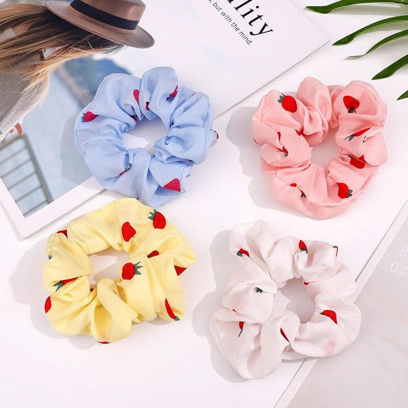 Bright Color Chiffon Scrunchies Women Strawberry Schrunchie Set 4 Pieces Elastic Hair Bands Girls Headwear Rubber Cute Hair Ties