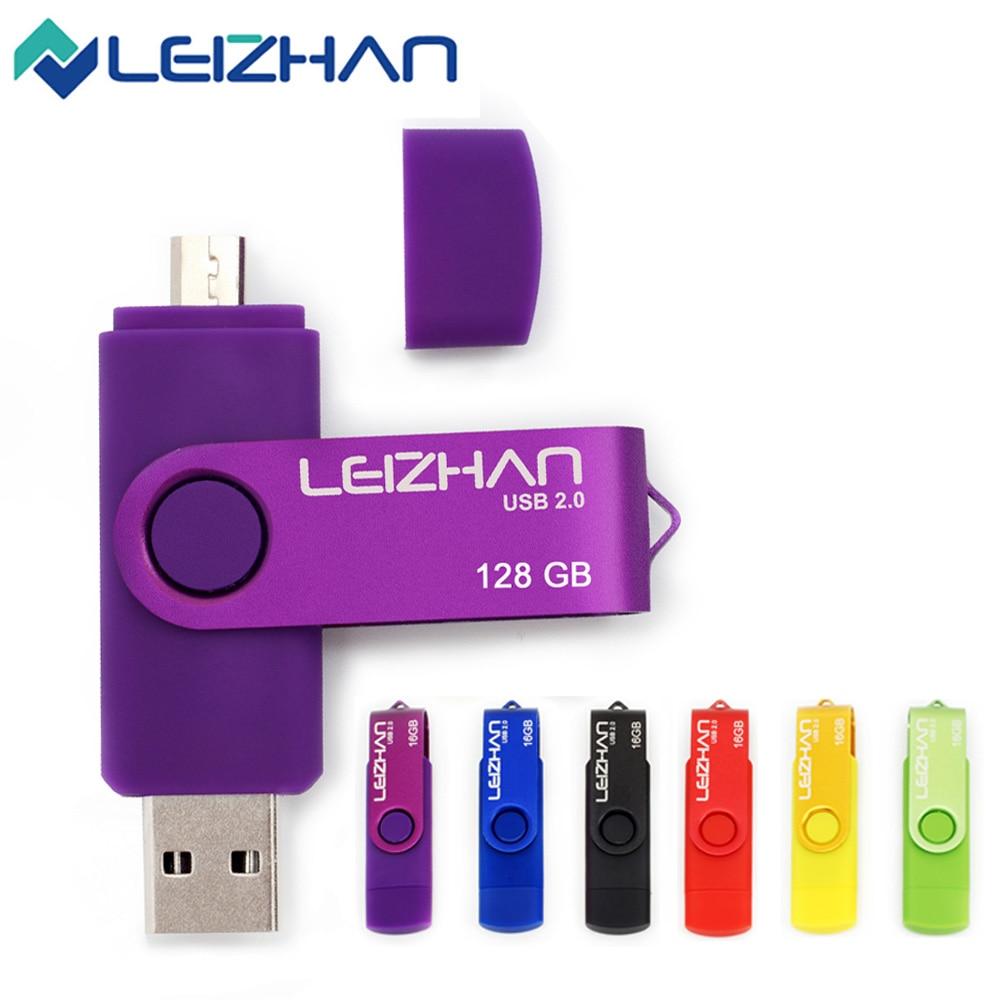 OTG Micro USB 2,0 Flash Drive 128GB 64GB 32GB 16GB 8GB 4GB para computadora tableta teléfono inteligente pendrive con memoria