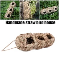 hand woven hummingbird house birds hut nests with 3 holes 10x10x29cm outside grass hanging birds hut hanging houses hk3
