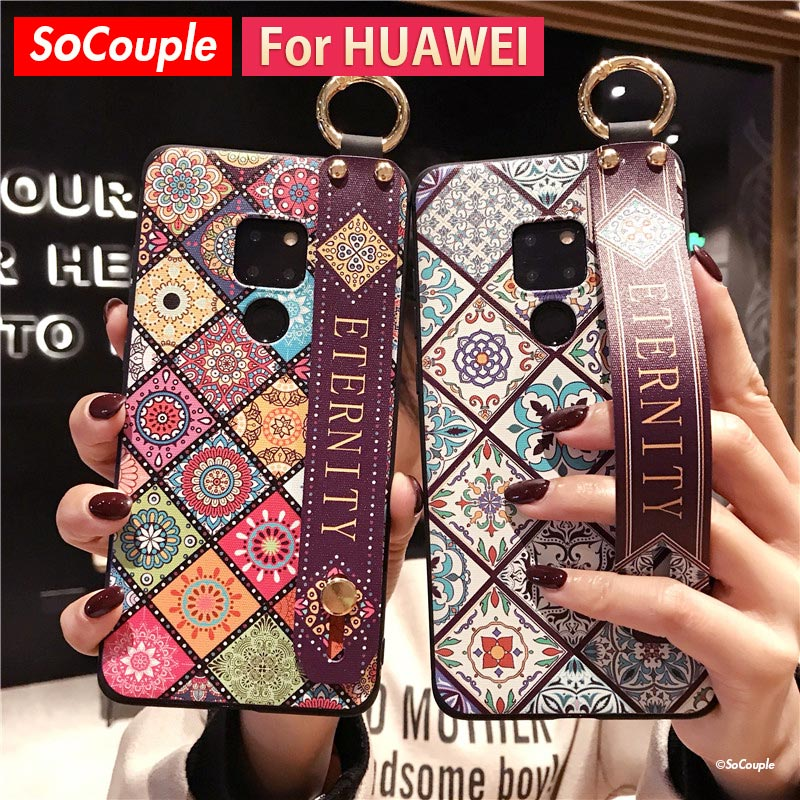 Мягкий чехол для телефона SoCouple из ТПУ с ремешком на запястье для Huawei P30 P20 Pro Mate 10 20 Pro 30 Lite Nova 3i 5i Honor 10 20 Pro