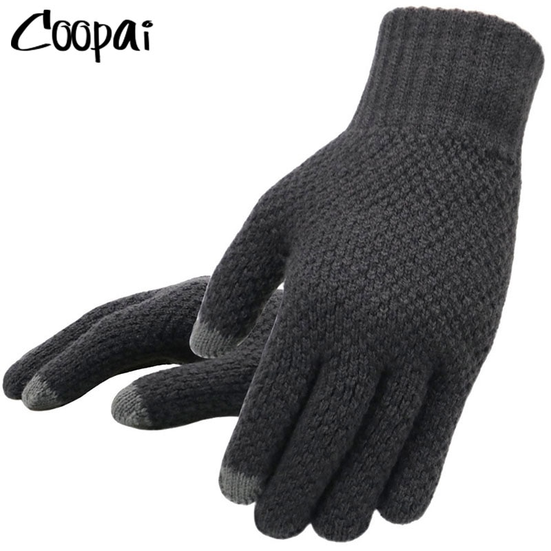Winter Men Knitted Gloves Touch Screen High Quality Male Mitten Thicken Warm Wool Cashmere Solid Men