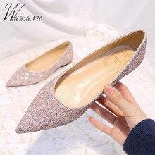 Zapatos de talla grande 31-44 a la moda clásicos de plata brillante para mujer, mocasines planos informales con punta estrecha, nuevo vestido de fiesta con lentejuelas