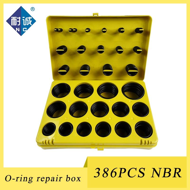 Juego de anillo de goma NBR de 386 piezas Kit de goma 30 tamaños junta de anillo de sellado de nitrilo juego de caja de surtido