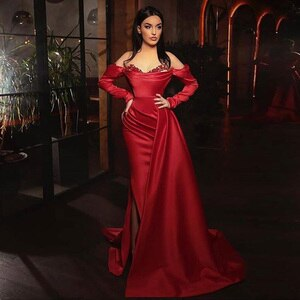 Eightale Red Evening Dress Dubai Arabic V-Neck Appliques Pleats Mermaid Prom Gown Side Split Formal Long Sleeves Party Dresses