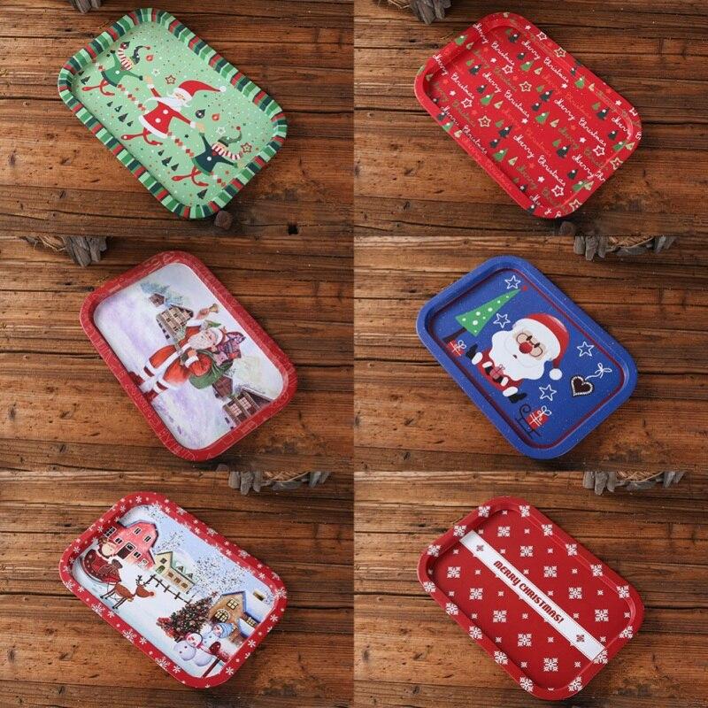 Bandeja de almacenamiento de hojalata decorativa de Navidad bandeja Placa de fruta para servir alimentos decoraciones organizadoras para el hogar de vacaciones patrón aleatorio