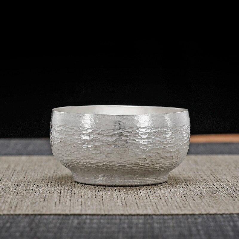 الفضة فنجان شاي فضة 999 اليدوية المطروق طقم شاي المنزلية الكونغ فو فنجان شاي الفضة الاسترليني ماستر كوب