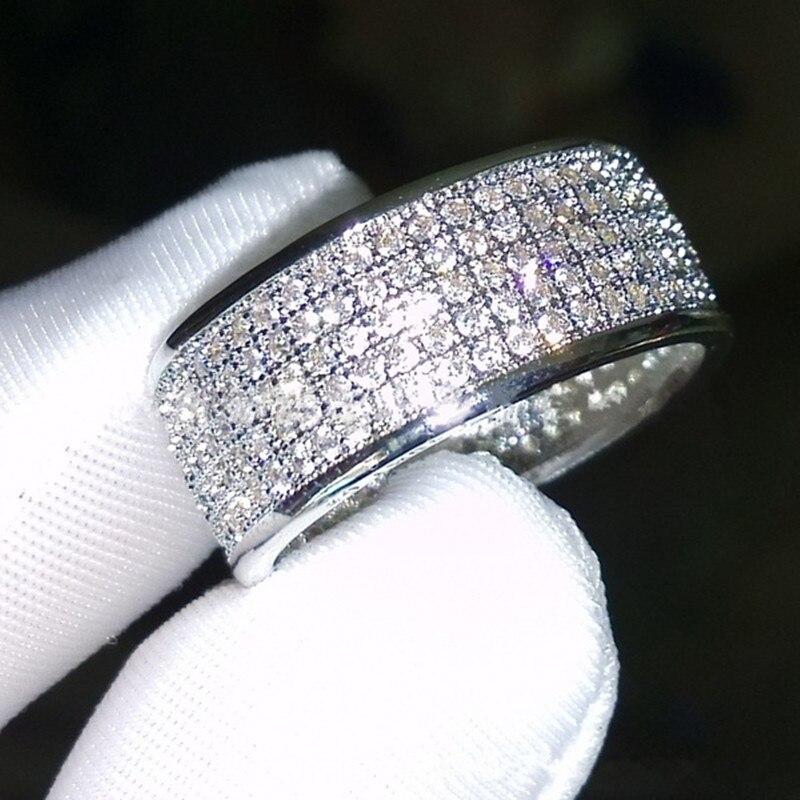 FDLK Luxury Pave setting Full 360PCS Rhinestones Zircon Rings For Women Copper Wedding Band Jewelry For Women