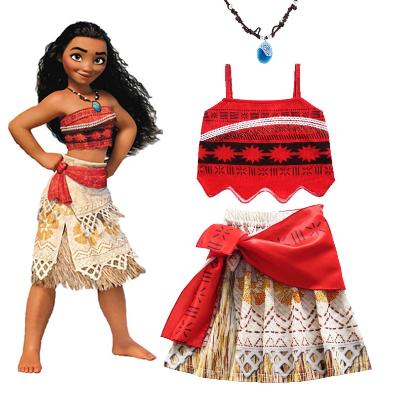 2020 Girls Moana Cosplay Costume for Kids Vaiana Princess Dress Clothes for Halloween Costumes for g