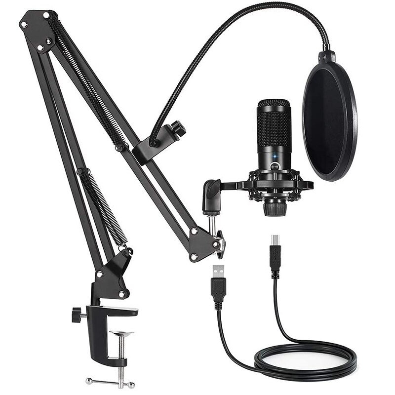 USB Computer Condenser Microphone Kit with Adjustable Scissor Arm Stand for PC YouTube Video Gaming Streams Studio T669