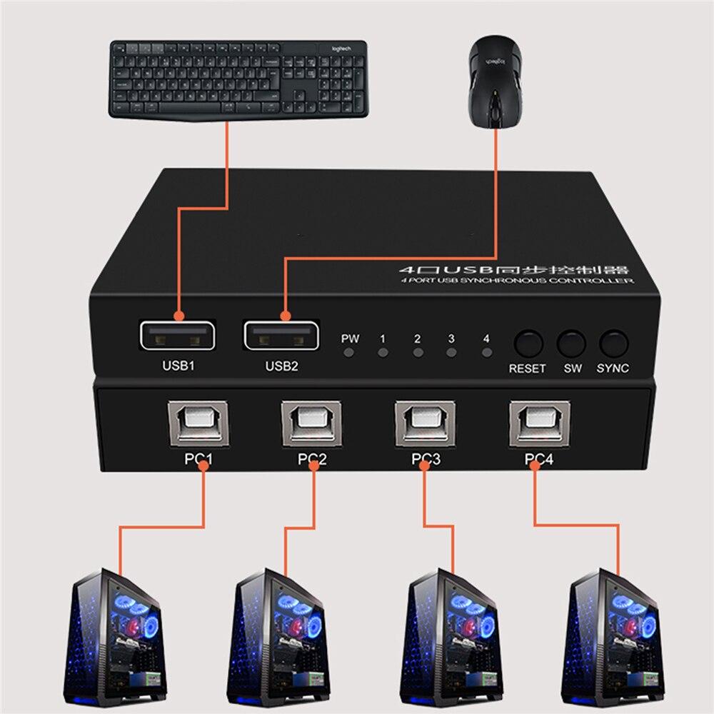 4 portas usb controlador de comutação síncrono para jogos teclado mouse synchronizor controlador plug and play max 12 mbps