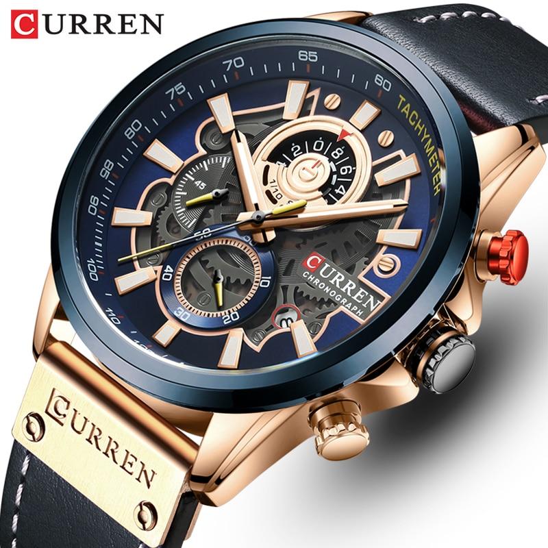Relojes CURREN para hombre, relojes de cuarzo de lujo de marca a la moda, reloj de pulsera deportivo de cuero para hombre, reloj cronógrafo, reloj Masculino