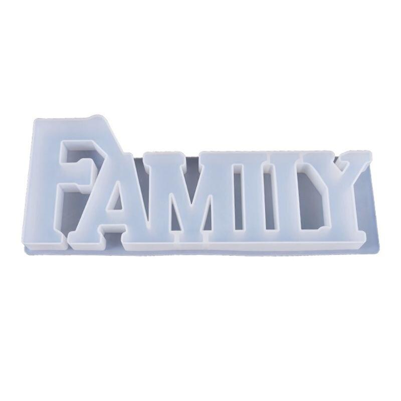 Кристаллическая эпоксидная смола, форма FAMIIY в форме букв, литая силиконовая форма ручной работы, DIY ремесла, инструмент для изготовления укр...