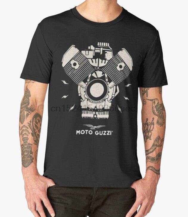 Camiseta estampada de algodón con cuello redondo para hombre, camiseta de Moto Guzzi de manga corta para mujer