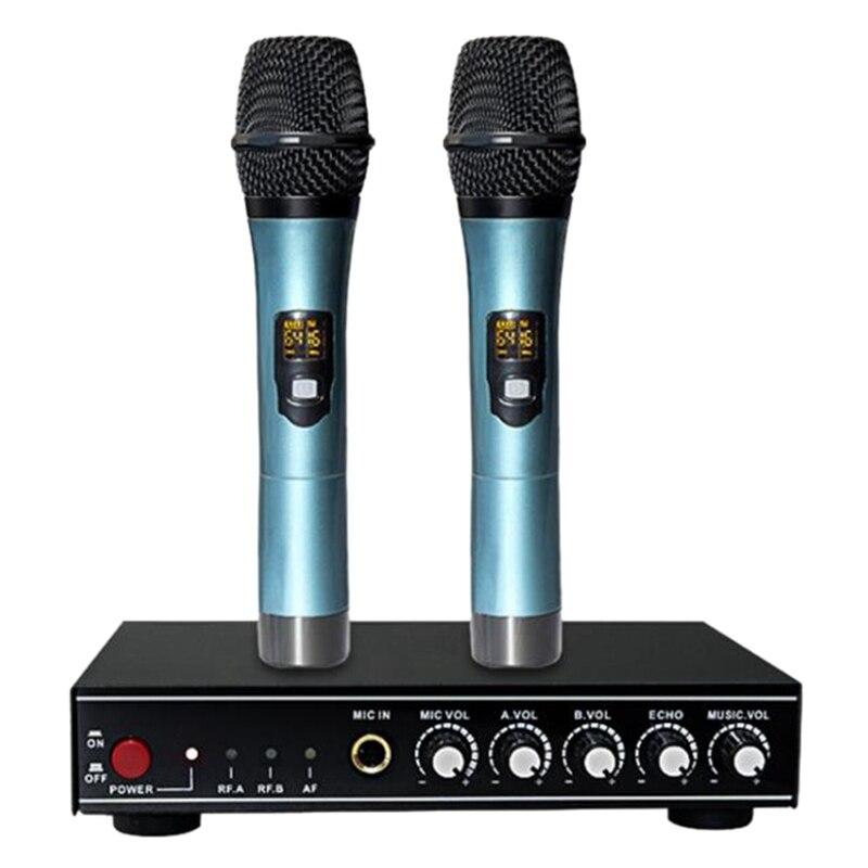 يو شريحة بلوتوث اللاسلكية ميكروفون واحد لمدة اثنين للتلفزيون المنزلي KTV لايف ميكروفون ديناميكي مع وحدة عكس DSP