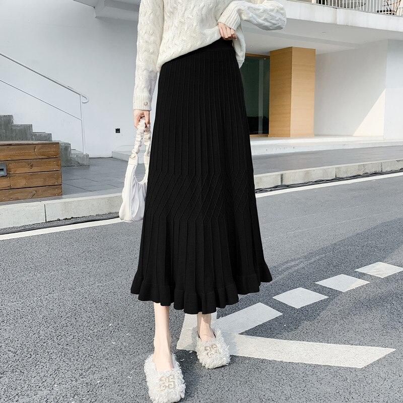 Tejido sólido púrpura Maxi largo plisado falda cintura alta Midi Sexy Faldas Largas Mujer Retro señoras estilo coreano ropa Casual