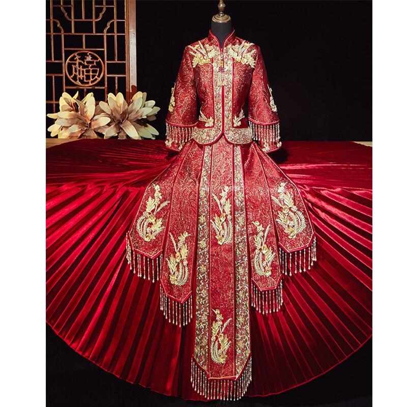 فستان زفاف تقليدي تقليدي ، فستان شرقي كلاسيكي مطرز ، ملابس صينية ، تشيباو