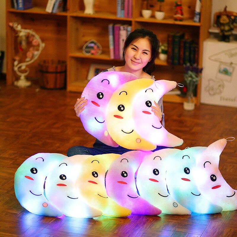 Moon Pillow Plush Toys Cute Luminous Toy Led Light Glow In Dark Doll for Children Kids YYT219
